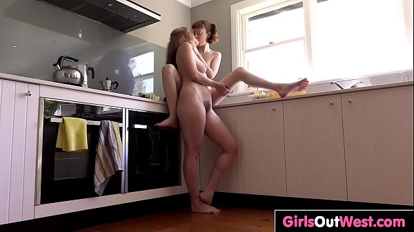 Amateur fucking in the kitchen, Kitchen, Hairy lesbian